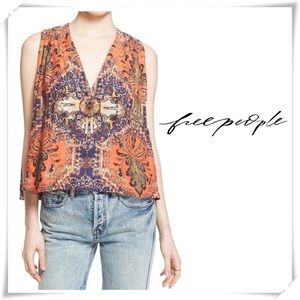 Free People Darcy Super V Paisley Sleeples Tops